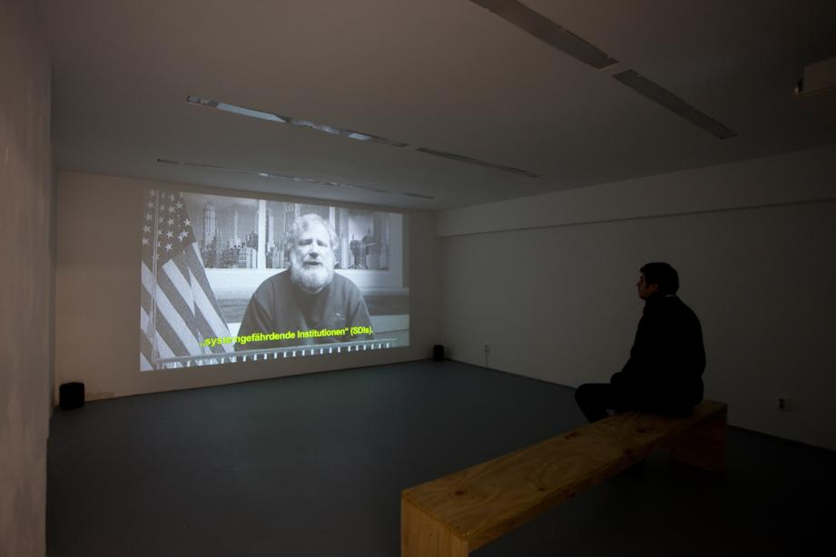 Oliver Ressler, The Bull laid Bear (2012), Installation view, photo: Amin Weber
